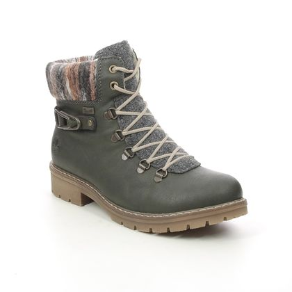Rieker Lace Up Boots - Green - Y9131-54 PLANAR TEX