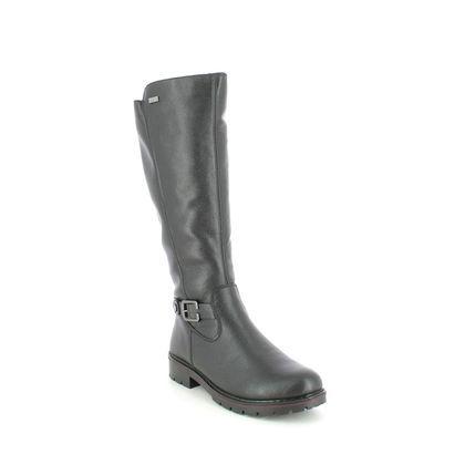 Rieker Knee High Boots - Black leather - Y9192-00 INDALEA TEX