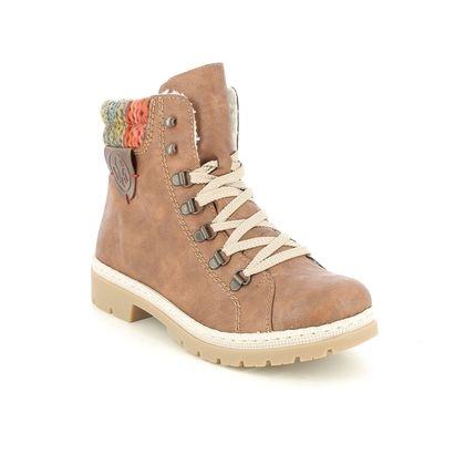 Rieker Lace Up Boots - Tan - Y9430-22 PONDGAM