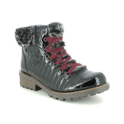 Rieker Lace Up Boots - Black croc - Z0434-00 FRESHEST TEX