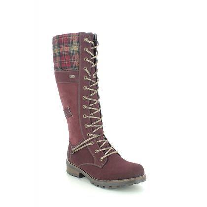 Rieker Knee High Boots - Wine - Z0442-36 FRESH TEX