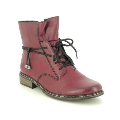 Rieker Lace Up Boots - Wine - Z4922-35 PEECHIME