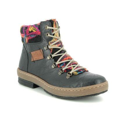 Rieker Lace Up Boots - Black - Z6743-00 POLARPEEPS