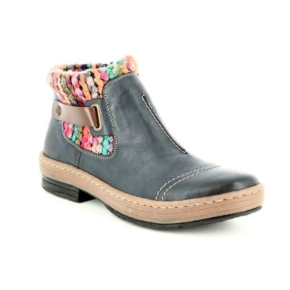Rieker Fashion Ankle Boots - Navy - Z6784-14 POLAR