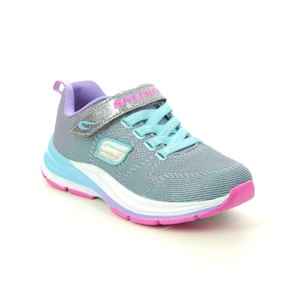 Skechers Girls Trainers - Grey Blue - 81459L DOUBLE STRIDES