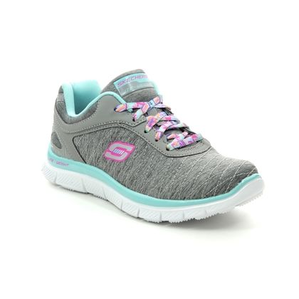 Skechers Girls Trainers - Grey Aqua - 81844 EYE CATCHER