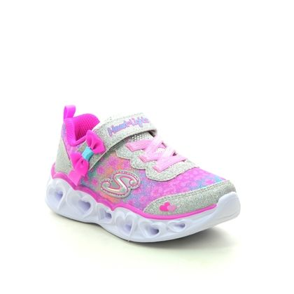 Skechers Girls Trainers - Silver hot pink - 302088N HEART LIGHTS INF