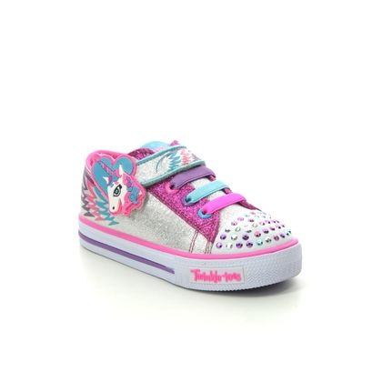 Skechers Girls Trainers - Silver hot pink - 10772N PARTY PETS