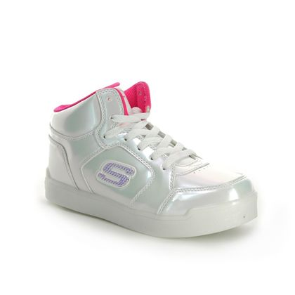 Skechers Girls Trainers - White patent - 10942 PEARL PRINCESS