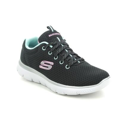 Skechers Girls Trainers - Black Turquoise - 302070L SUMMITS