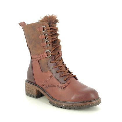 Tamaris Lace Up Boots - Tan Leather - 26212/25/306 ABINATALUES