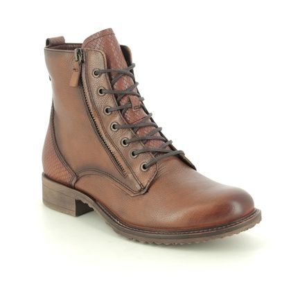 Tamaris Lace Up Boots - Tan Leather - 25211/25/378 ANOUK