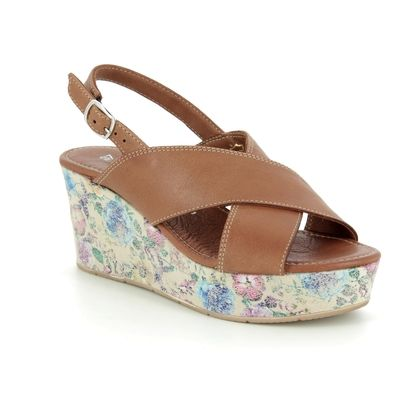 Tamaris Wedge Sandals - Tan Leather - 28332/32/319 ILENE