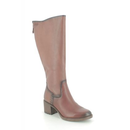 Tamaris Knee High Boots - Tan Leather  - 25604/25/449 KATELYN WIDE CALF