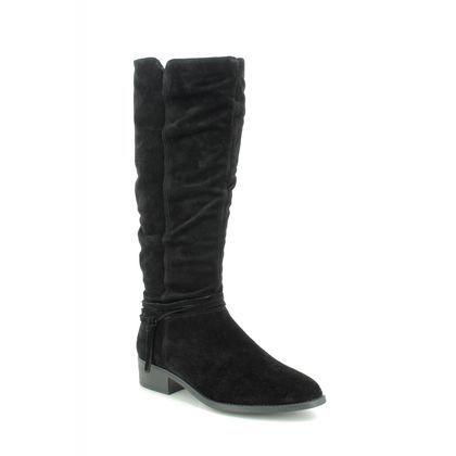 Tamaris Knee High Boots - Black Suede - 25561/23/001 MINE