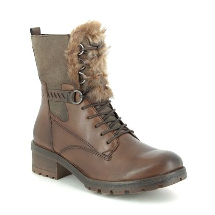 Tamaris Boots - Ankle - Brown leather - 26212/23/321 NATALE TALUES