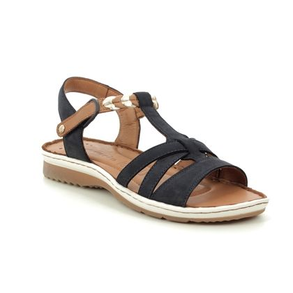 Tamaris Comfortable Sandals - Navy Leather - 28603/22/890 SALKA