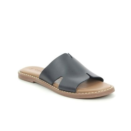 Tamaris Slide Sandals - Navy leather - 27135/26/805 TOFFY