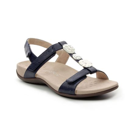 Vionic Comfortable Sandals - Navy Patent-Suede - 201902 REST FARRA