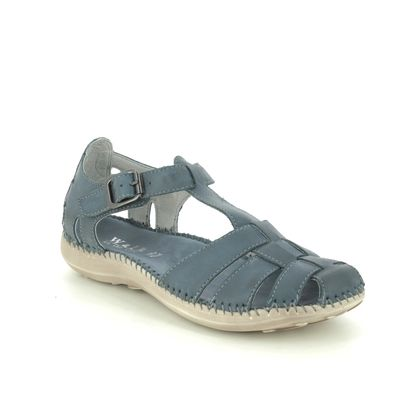 Walk in the City Closed Toe Sandals - Navy Leather - 7105/32930 DAISEVET WIDE