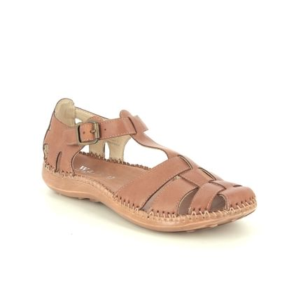 Walk in the City Closed Toe Sandals - Tan Leather - 7105/32930 DAISEVET WIDE