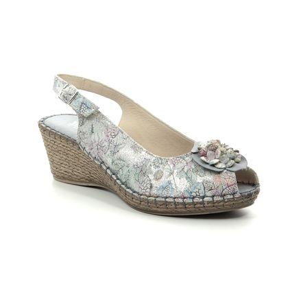 Walk in the City Slingback Shoes - Grey Floral - 8103/28868 MOSEDIA