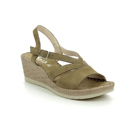 Walk in the City Wedge Sandals - Khaki Leather - 8593/42070 VALENCIA WIDE FIT