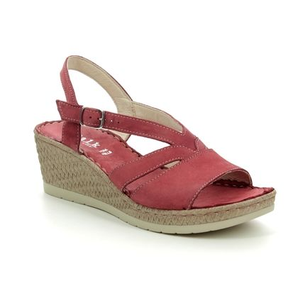 Walk in the City Wedge Sandals - Red leather - 8593/42070 VALENCIA WIDE FIT