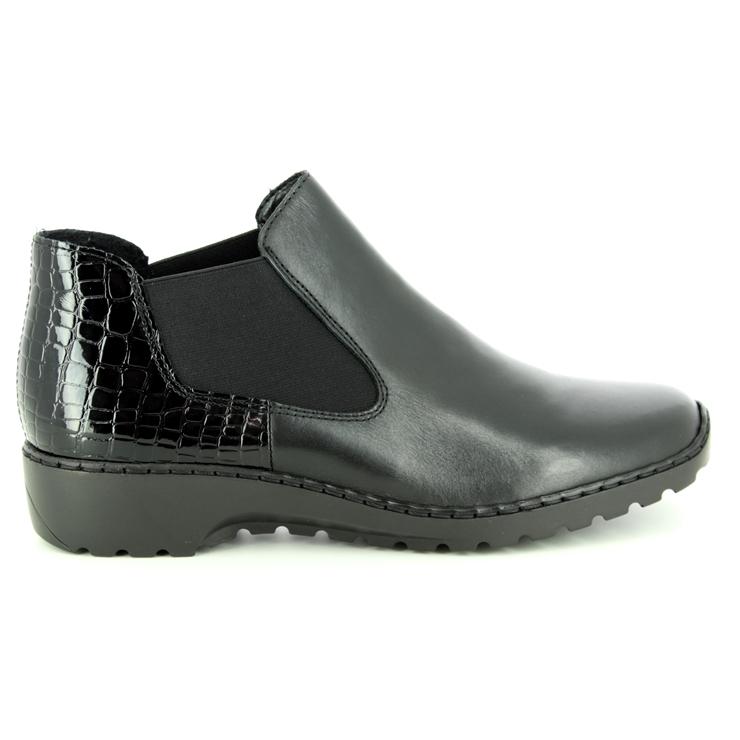 Rieker 99284-00 Ladies Womens Autumn Winter Casual Ankle Chelsea Boots Black