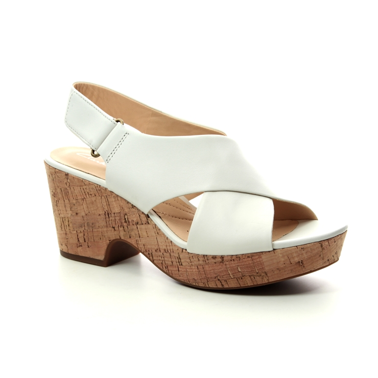 Clarks Maritsa Lara D Fit White Wedge Sandals