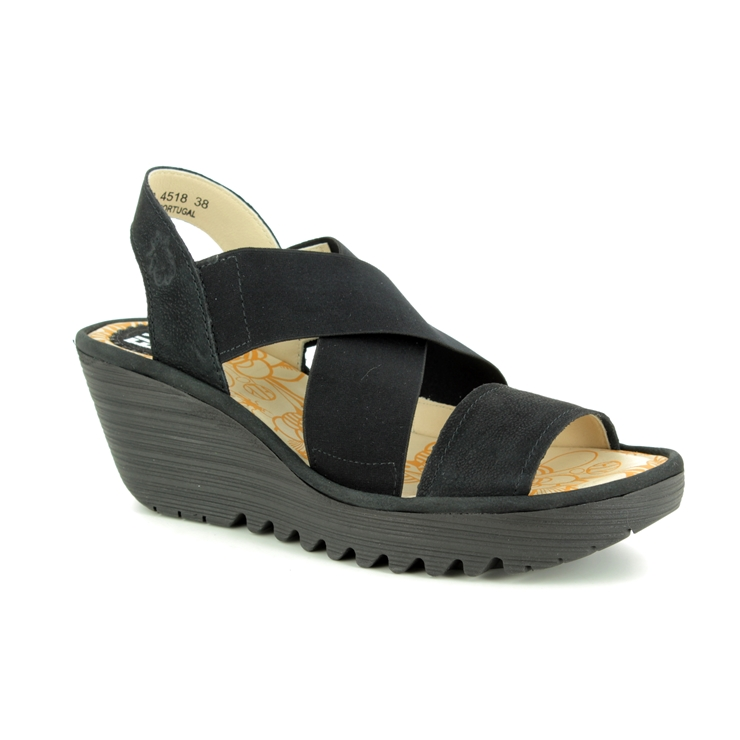294bc4085586b Fly London Wedge Sandals - Black leather - P500888 YAJI ...