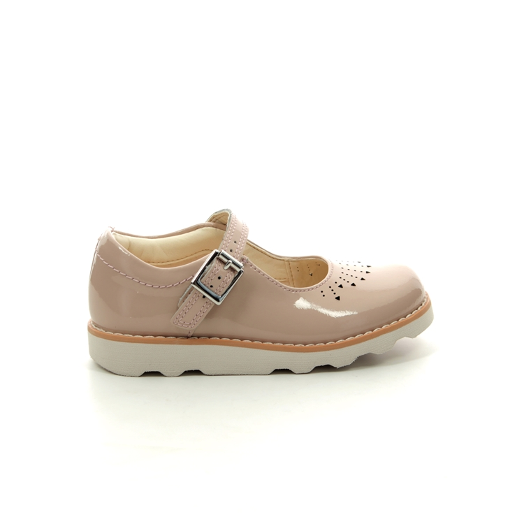 Clarks Crown Jump T F Fit Nude Patent first shoes