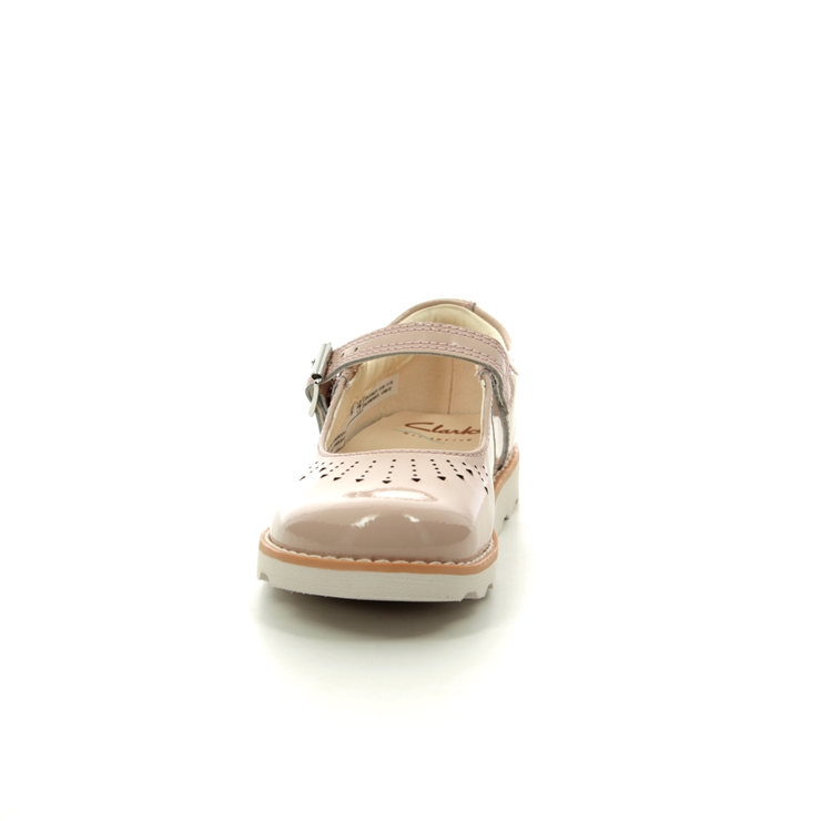 Clarks Crown Jump T G Fit Nude Patent first shoes