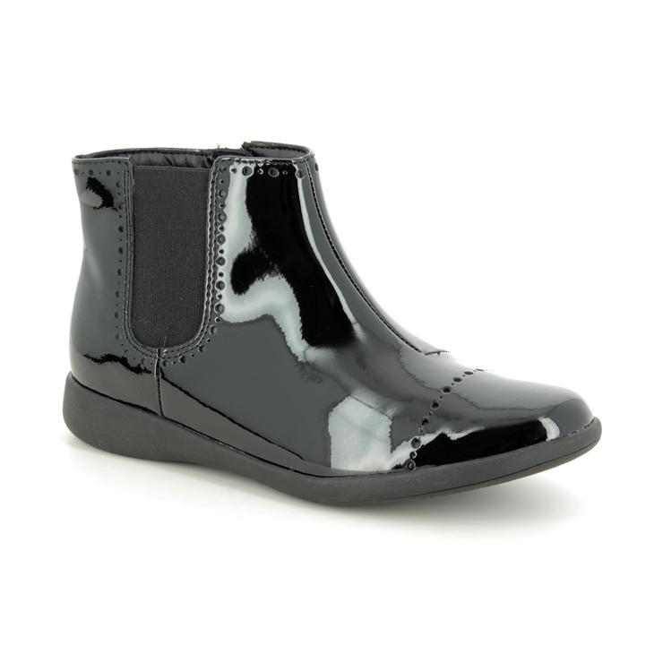 Clarks Etch Form K F Fit Black patent boots