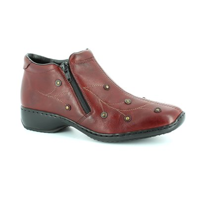 Rieker L3889-35 Red multi ankle boots