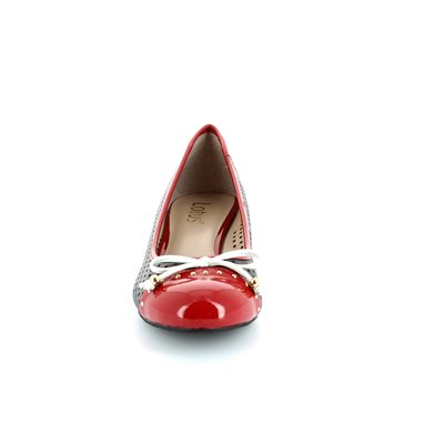 Lotus Elizabeth Navy/red/white combi heeled shoes