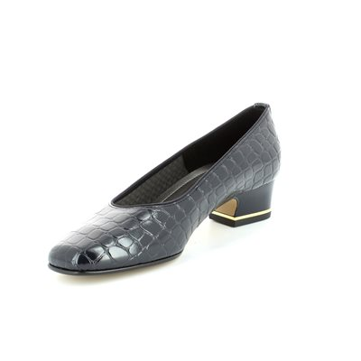 Ara Graco 1241859-12 Navy croc heeled shoes