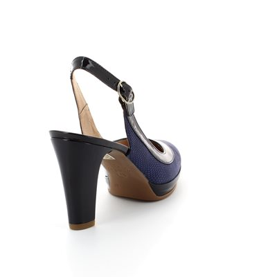 Wonders M1021-70 Navy patent/suede high-heeled shoes