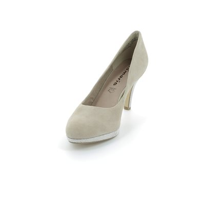 Tamaris 22405-324 Beige suede high-heeled shoes