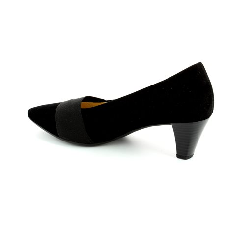 Gabor Folky 45.141.17 Black suede high-heeled shoes