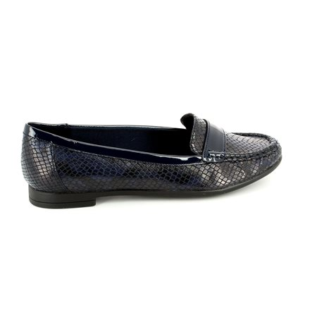 Clarks Atomic Lady Navy patent/suede loafers