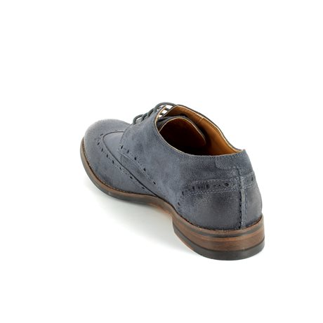 Clarks Exton Brogue Navy suede fashion shoes