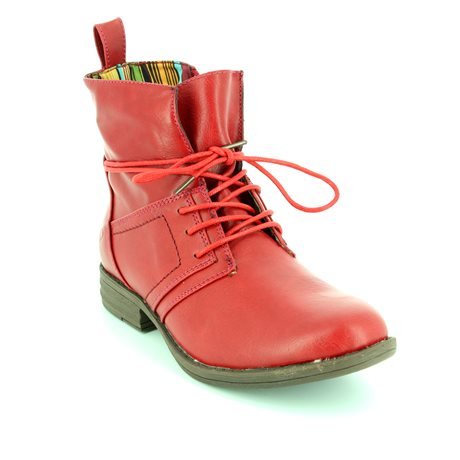 Heavenly Feet Strut 6006-80 Red ankle boots