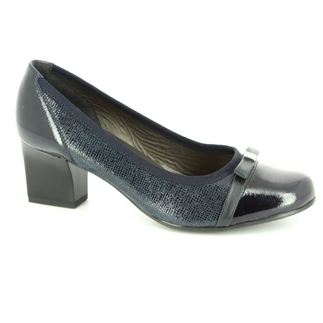 Alpina 8239-5 Navy patent/suede heeled shoes