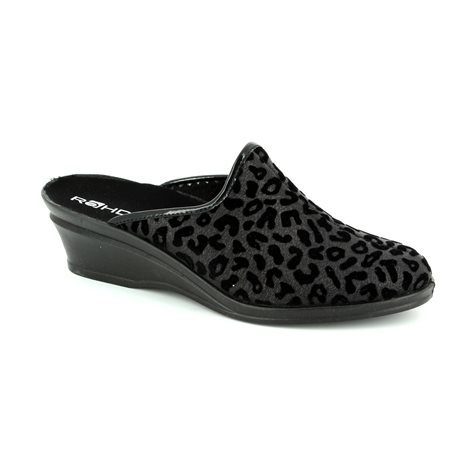 Rohde 2374-90 Black multi slipper mules