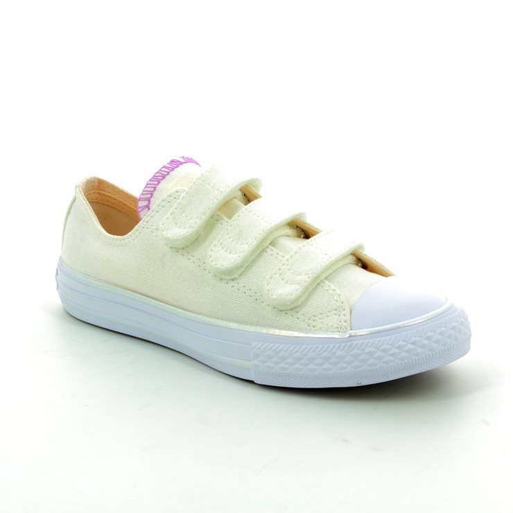 a0d228a27cae Converse Trainers - White multi - 656041C 102 Chuck Taylor All Star 3V OX  Velcro ...