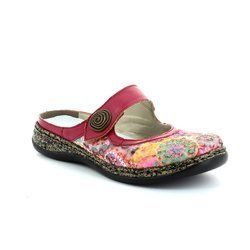 Rieker Slippers & Mules - Pink multi floral or fabric - 46385-91 LINO   41