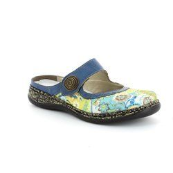 Rieker Slippers & Mules - Blue-Floral - 46385-92 LINO   41