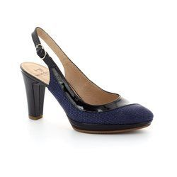 Wonders Heeled Shoes - Navy patent-suede - M1021/70 SWING