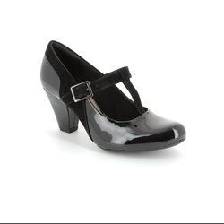 Clarks Heeled Shoes - Black patent - 1161/64D COOLEST LASS